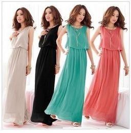 Wholesale Dress Bohenmia - 2015 Women Bohenmia Pleated Wave Lace Strap Princess Chiffon Maxi long dress 8 Colours Big yards beach dress ( S-M-L-XL-XXL-XXXL )
