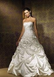 Wholesale Super Plus Size Wedding Gowns - Top Quality Taffeta pick up skirt gorgeous appliques super fashion wedding gowns Dresses