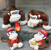 Wholesale Diddy Kong - Super Mario plush toy doll 2 styles mario bros diddy kong with banana donkey kong free shipping