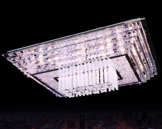 Moderno y elegante Simplicidad LED K9 Cristal Rectangular Lámpara de techo Araña Lliving Room Lights