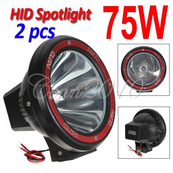 "2pcs 7"" 70W 75W HID Xenon Driving Light Off-Road SUV ATV 4x4 Spot Flood Beam 9-32V Internal Ballasts"
