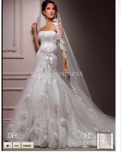 Discount Extravagant Beaded Floral Applique A Line Lace Organza