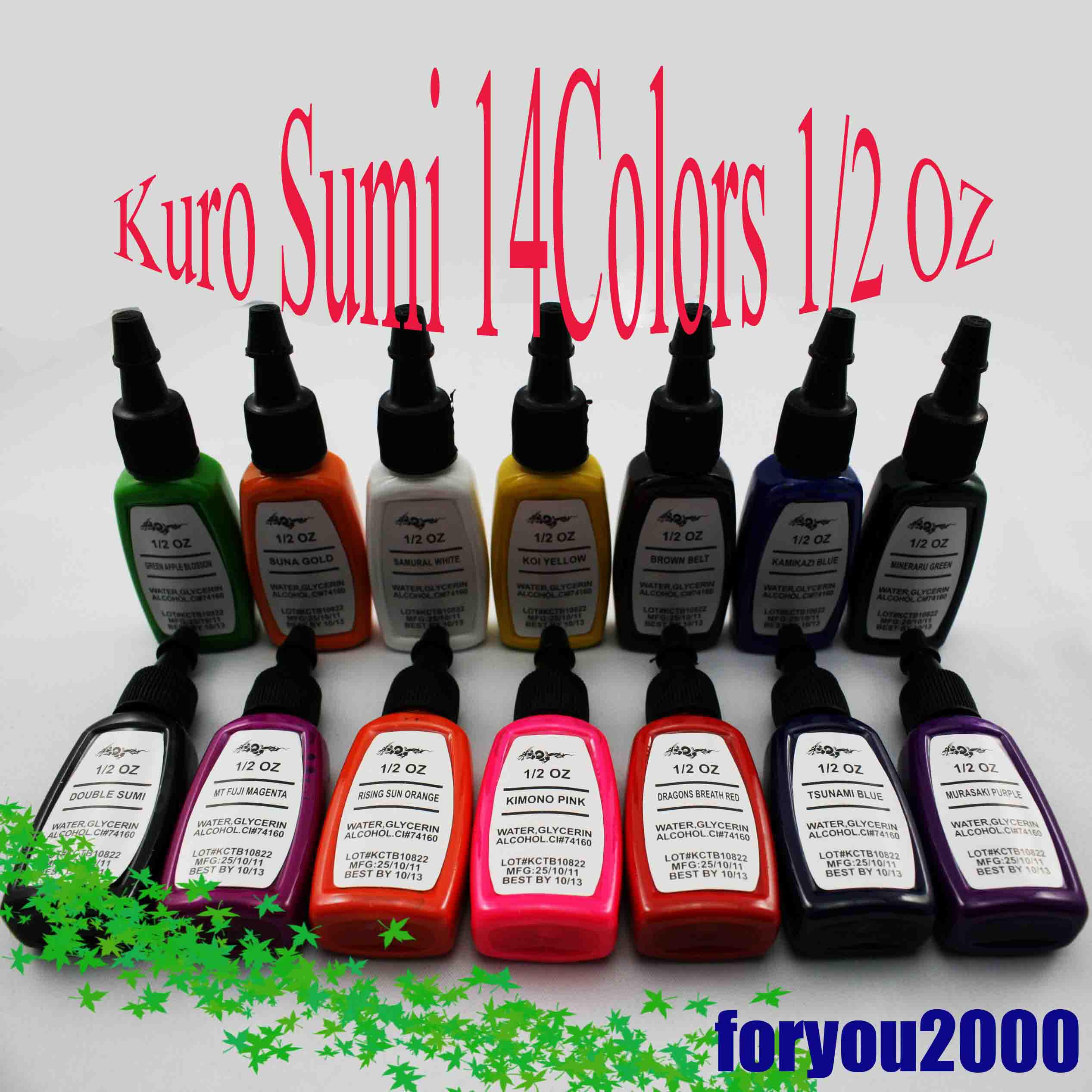 Hot Sale Set Of Kuro Sum  Oz Tattoo Ink Pigment New Tattoo Supply Tattoo Inks Tattoo Pigment Ink Tattoo Online With   Piece On Foryous Store