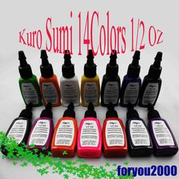 Wholesale Tattoo Pigment Ink Set - Hot Sale Set Of Kuro Sum 14 Colors 1 2OZ Tattoo Ink Pigment New Tattoo Supply