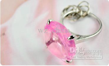 Monili di modo NUOVI anelli di fidanzamento di nozze Anelli di catena chiave con questo anello Novità di cristallo austriaco Diversi colori Freeshiping