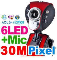 Wholesale Digital Usb Pc Mic - USB 2.0 50.0M 6 LED PC Camera HD Webcam Camera Web Cam with MIC for Computer PC Laptop