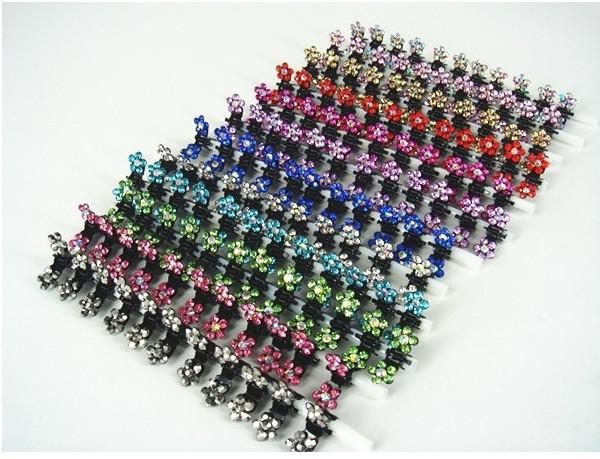 Venda quente de Cristal Flor Mini Garra de Cabelo Clipe HairClip Cabelo Pin 12 Cores para escolher