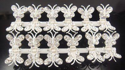 Venta caliente 100 Unids Plateado Plata mariposa cristales Claros mini pelo garra Clamp Pernos de Pelo