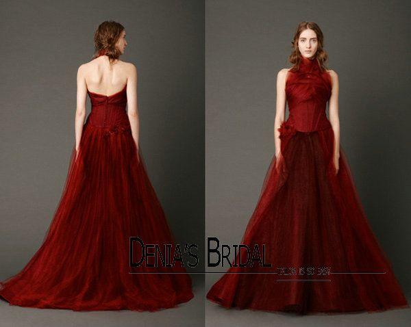Discount 2013 Spring Vintage Dark Red Tulle Halter Bridal Gown A ...