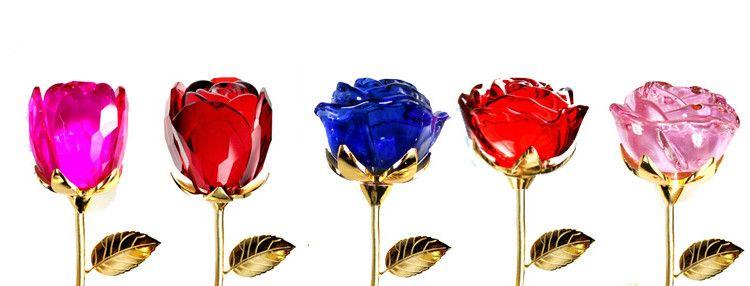 """New Gorgeous Crystal Rose Flower 12"""" Long Stemmed Red Glass Handicraft Flower Bud Love Forever Valentines Gift Romantic Wedding Gift"""