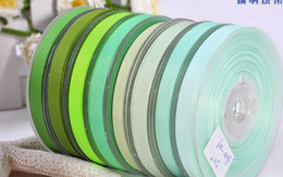 "Wholesale Ribbon Grosgrain 6mm - 1 4""(6mm) 24color green series 100yards children Hair Bow DIY grosgrain ribbons"