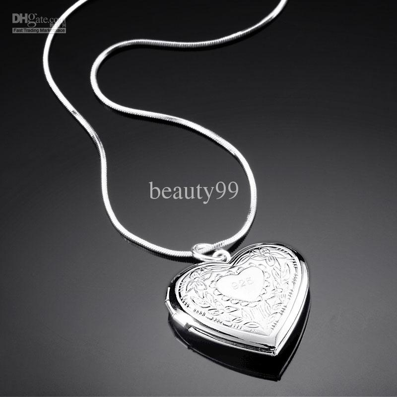 2015 Fashion Female Jewelry Necklace New Heart 925 Silver Plated Charming Necklace Photo pendant necklace open Heart Pendant SG-3070