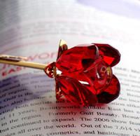 ingrosso regalo di fiore dell'ospite per il matrimonio-Valentine's Crystal Glass Rose Flower con gambo lungo dorato per la cerimonia nuziale Grazie per i regali per gli ospiti