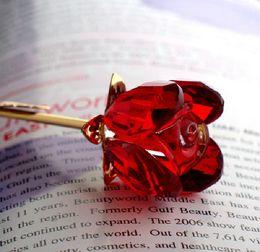 grandes peças de xadrez Desconto Flor de Rosa de Vidro de Cristal dos Namorados com Longo Caule Dourado para o Casamento Obrigado Presentes para Convidados