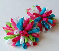 Wholesale Handmade Boutique Hairbows - korker bows Boutique hair bows Girls' handmade grosgrain ribbon hairbows with clip hair clips BB