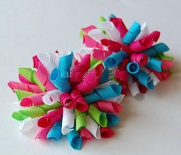 Wholesale Korker Ribbons Wholesale - korker bows Boutique hair bows Girls' handmade grosgrain ribbon hairbows with clip hair clips BB
