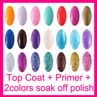 Wholesale Paint Gel Coat - Top Coat + Primer + 2 Color 15ml Nail Art Nail Soak Off UV Gel Polish Gelish Set For UV Lamp Glitter Nails