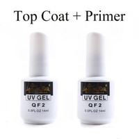 Wholesale Nail Systems Uv Gel - 14 ml TOP COAT + Base Primer for Nail Art Soak Off Color UV Gel Polish Systems Free Shipping