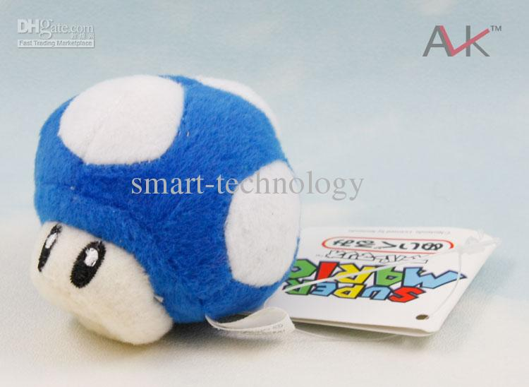 "Super Mario Bros Mushroom 2.5"" With Key Chain Plush Doll Toy"