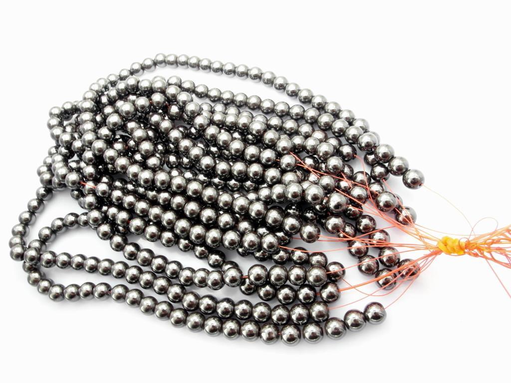 Moda bolas de hematita bola 2 buraco preto 8mm Venda quente Uso para Jóias 250 pçs / lote, CPAM LIVRE