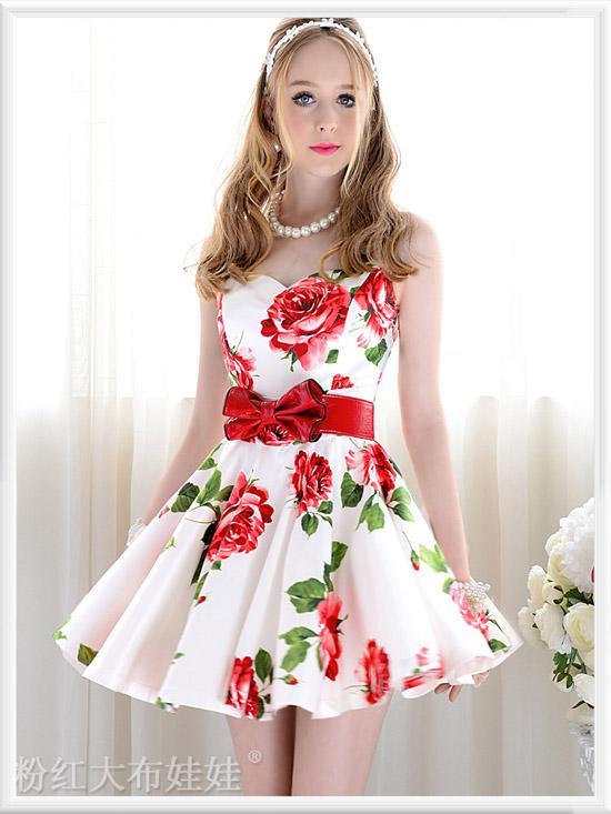 Red white dress women.