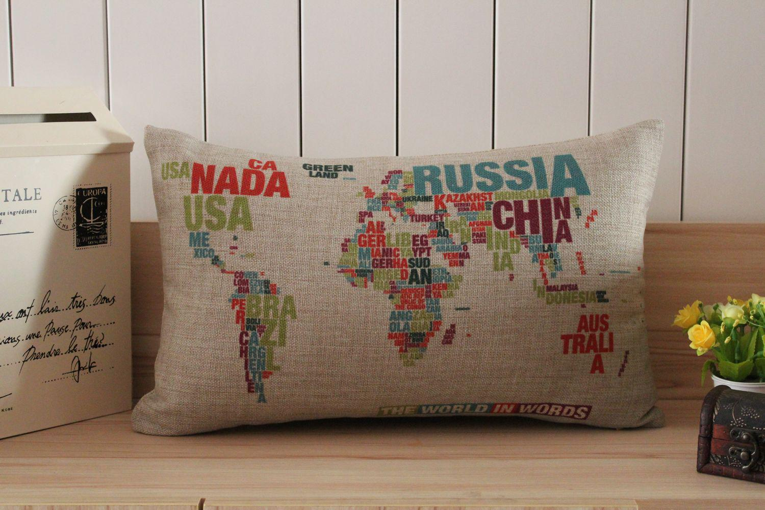Novelty Gift Words World Map Russia Pattern Linen Cotton Cushion