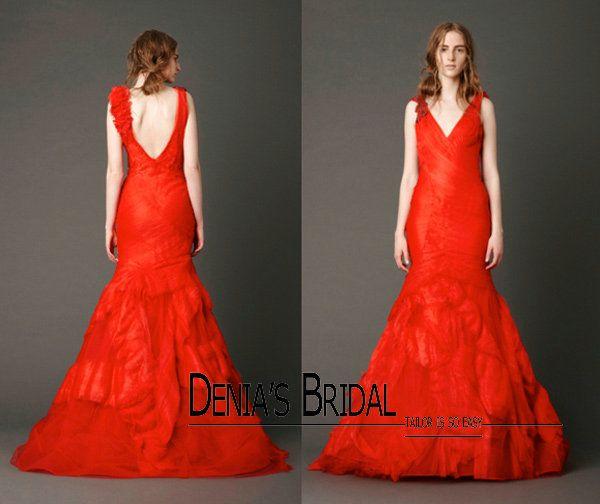 2017 New Vintage Red V Neckline Wedding Dresses Multilayer Skirt