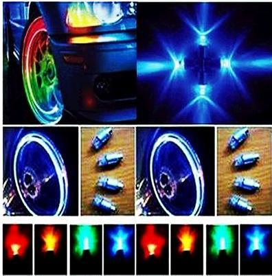 Nuevo Color Bike Cycling Motor Tire Tire Válvula del neumático Tapa Stem Wheel LED Lámpara de luz