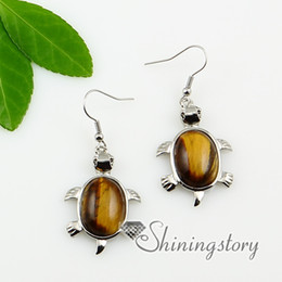 Wholesale Jade Earring Stones - seaturtle tigereye semi precious stone amethyst rose quartz turquoise opal jade dangle earrings