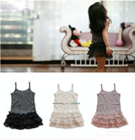 Wholesale Wholesale Solid Tank Dress - 2016 Baby girl ruffle lace tank tops Kids girl vest singlet strap dress tops panelled chiffon tutu children's clothes