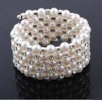 Wholesale Pearls Value - Value rhinestone bangle wedding jewelry accessories 5 rows pearl bracelet bridal bangle #5104