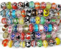 Wholesale European Glass Large Hole Beads - Lampwork Glass Beads Murano Bead Silver core European Fashion Large Hole Beads Fit PAN Bracelet