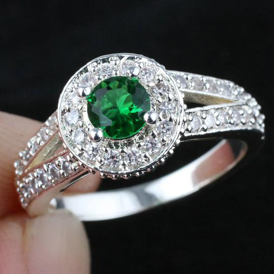 2018 Women Green Emerald Wedding Band Ring Silver Ring Size 6 Wed