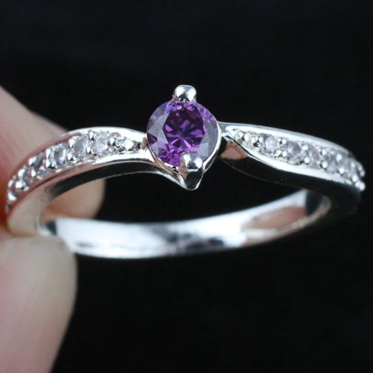 2018 women silver ring sz 7 wed j8064 small round purple amethyst wedding rings gift for girlfriend from timejewel 645 dhgatecom - Amethyst Wedding Rings
