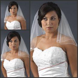 Wholesale Tulle Rosette - Wedding Accessories White Bridal Veil Shoulder Length Rosette Appliques Two Layers Wedding Veils