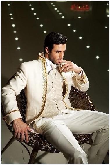 Smoking su misura smoking smoking avorio miglior uomo vestito mandarino risvolto da sposa groomsman / abiti da uomo abiti Bridegroom giacca + pantaloni + cravatta + gilet H204