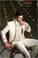 esmoquin marfil hombre al por mayor-Custom Made Groom Tuxedos Ivory Best Man Suit Mandarín de la solapa Groomsman boda / trajes de hombre Novio (chaqueta + pantalones + corbata + chaleco) H204