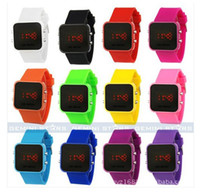 Wholesale Square Silicone Watch Ladies - 1pcs Luxury Sport LED Digital Date Lady Men Watch Mirror Fashion Watches Silicone gift jessie06