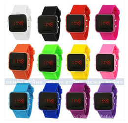 Wholesale Square Watch Silicone Led - 1pcs Luxury Sport LED Digital Date Lady Men Watch Mirror Fashion Watches Silicone gift jessie06