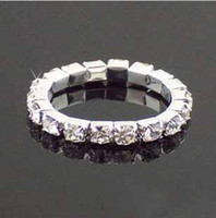 Wholesale Rings Stretch Bands - Bridal Jewelry Rhinestone Crystal Stretch Tennis Ring Wedding Jewelry Rings Promotion Gift #5096