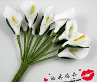 Wholesale Diy Artificial Mini Foam Flower - 144pcs lot DIY Artificial Mini Foam Calla Lily Flower Wedding invatation  gift Boxes DIY craft wa001