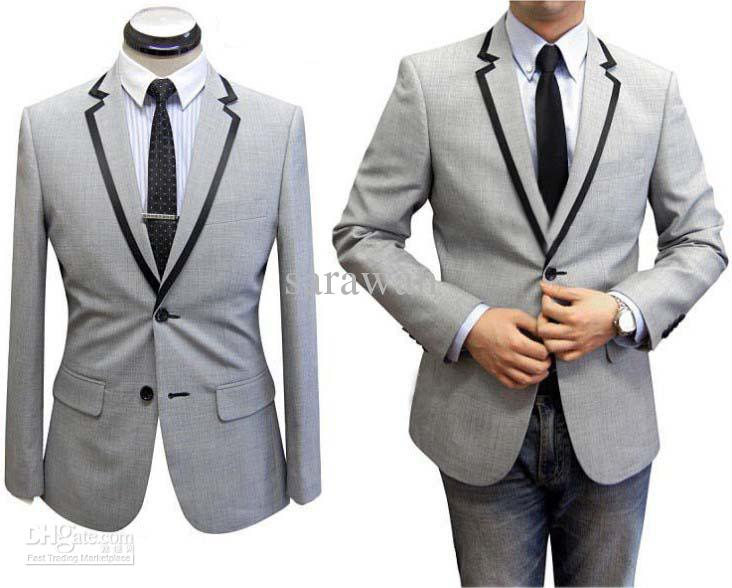 Custom Made To Measure Grey Men Suit With Black Satin Men Tuxedo