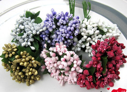 Wholesale Artificial Beads - 144pcs lot 1.5cm DIY Artificial Mini Foam flower with bead Wedding card gift box DIY craft wa002