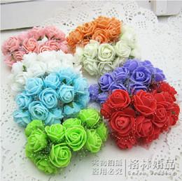 Wholesale Wedding Veil Wreath - 144pcs lot 2.5cm DIY Artificial Mini Foam rose Flower veil Wedding Invational boxes decor wa005