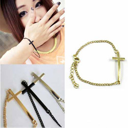 Wholesale Rock Wristbands - New Vintage Punk Gothic Rock Cross Chain Wristband Harness Bangle Bracelet #8049