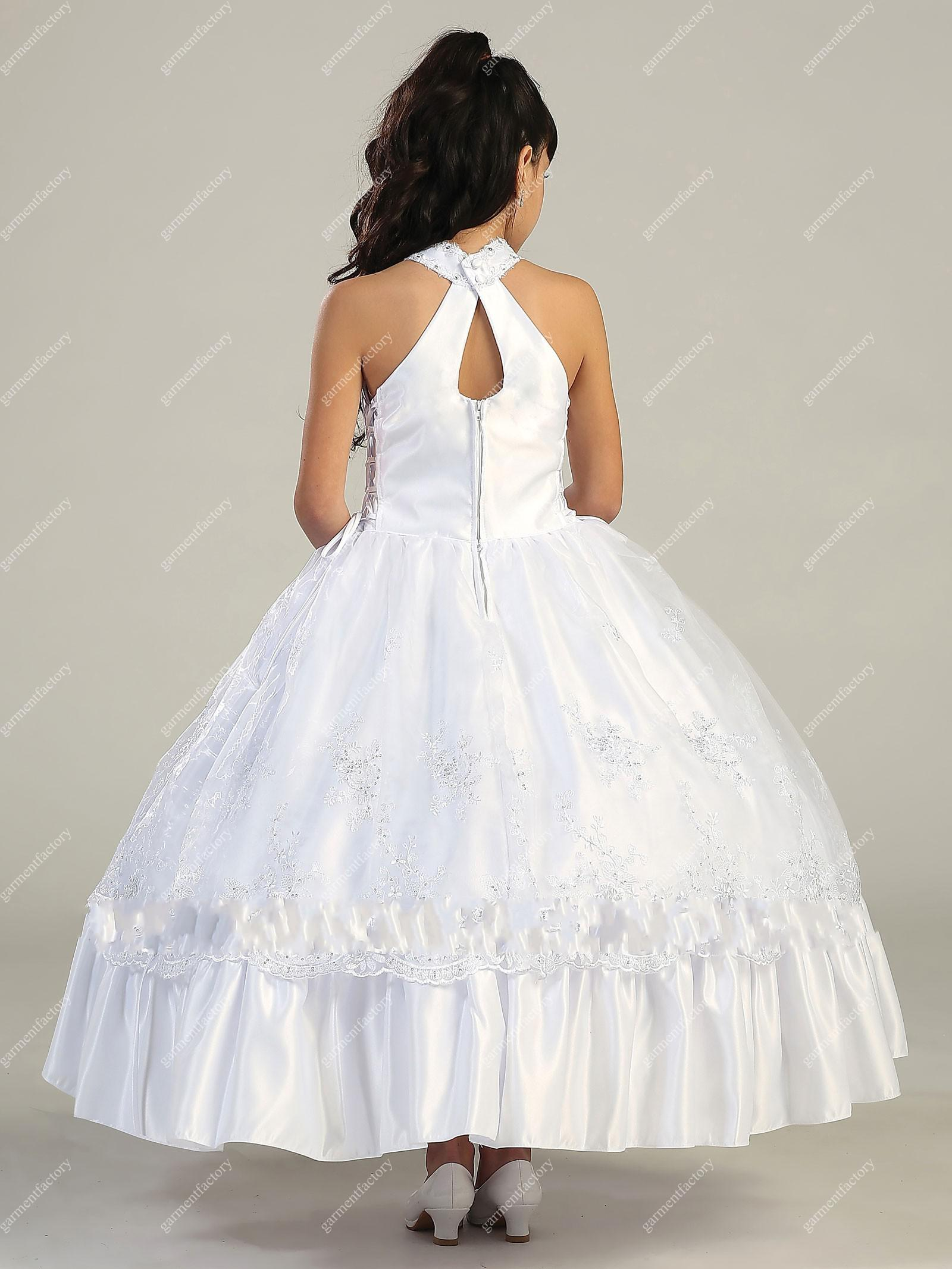 Beautiful white flower girls dresses special neckline tea length beautiful white flower girls dresses special neckline tea length little girls wedding party dresses ombrellifo Images