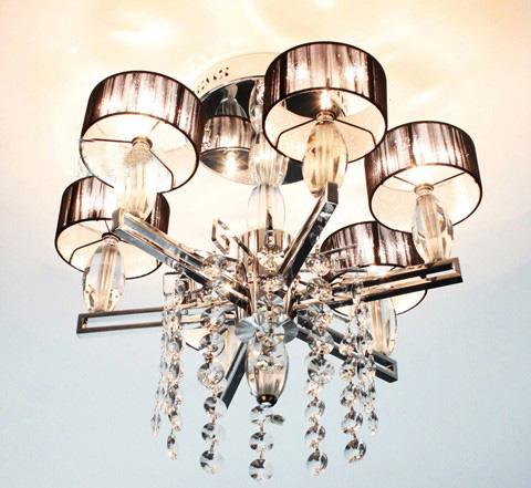 Moderne Minimalistische Mode Stof K9 Crystal Plafondlamp Kroonluchter Woonkamer Slaapkamerverlichting Dia 5