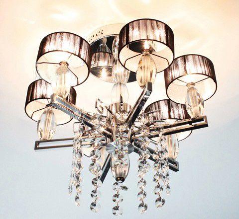 Moderne Mode Minimaliste Tissu K9 Cristal Plafond Lampe Lustre Salon Chambre Lumières Dia 5