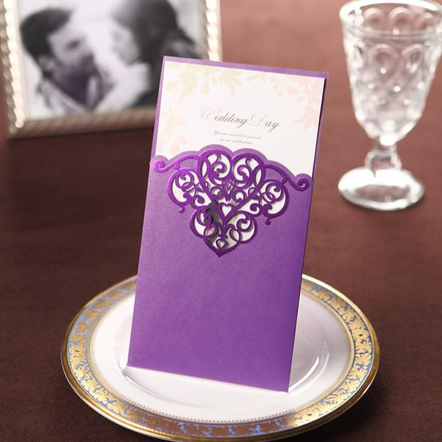 Elegant Purple Cutout Floral Design Wedding Invitation Cards Fleur