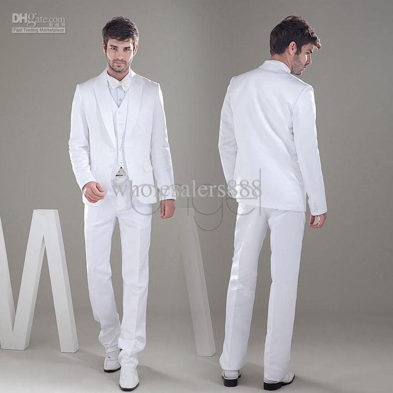 New Style White Groom Tuxedos Satin Material Groomsmen Men Wedding ...